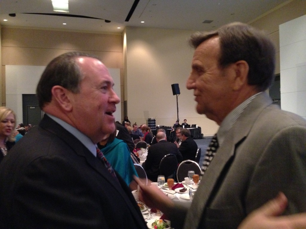 Gov Mike Huckabee and Dale Perkins renewing acquaintance
